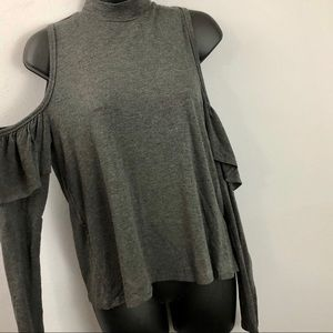 Everly Gray Cold Shoulder Ruffle Long Sleeve Top